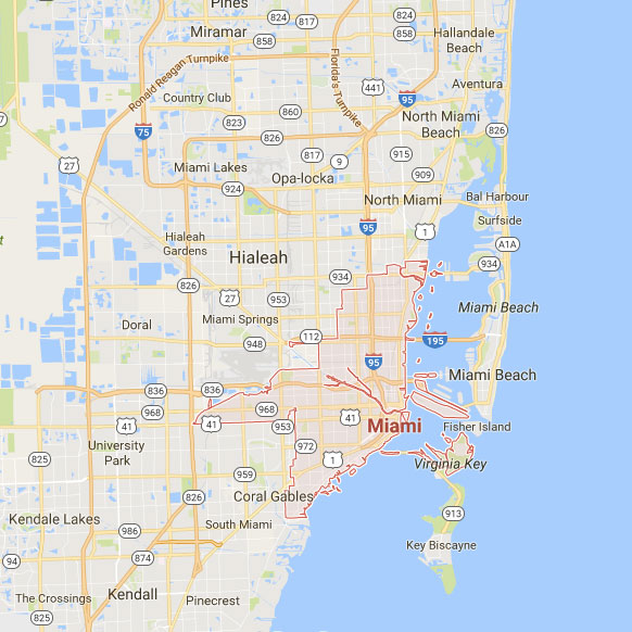 Map of Miami dog walking service area